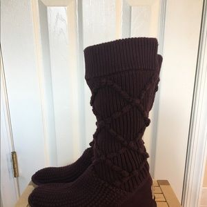 UGG Shoes - Ugg Classic Argyle Knit Boots Purple (wine)
